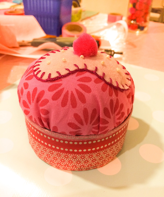 cupcake tuna can pincushion